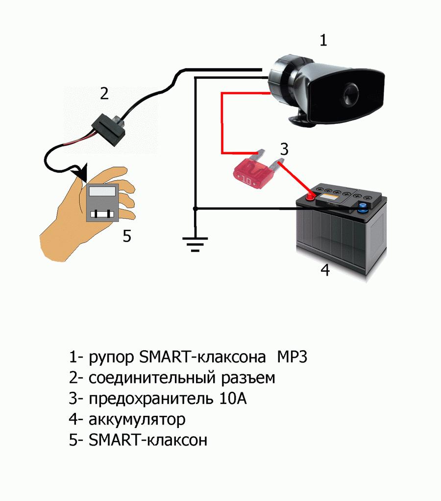 Схема подключения SMART-клаксонов